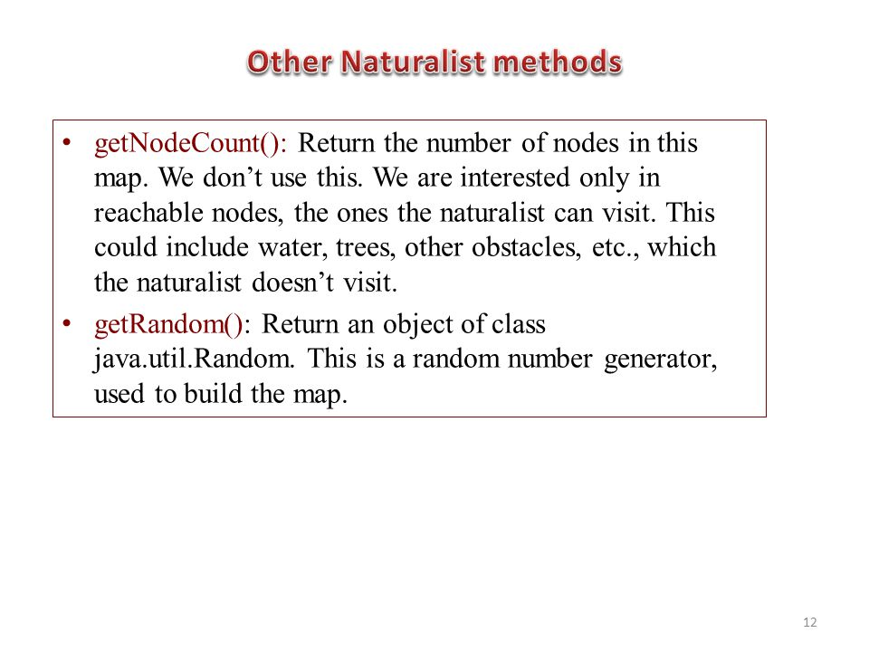 getNodeCount(): Return the number of nodes in this map.