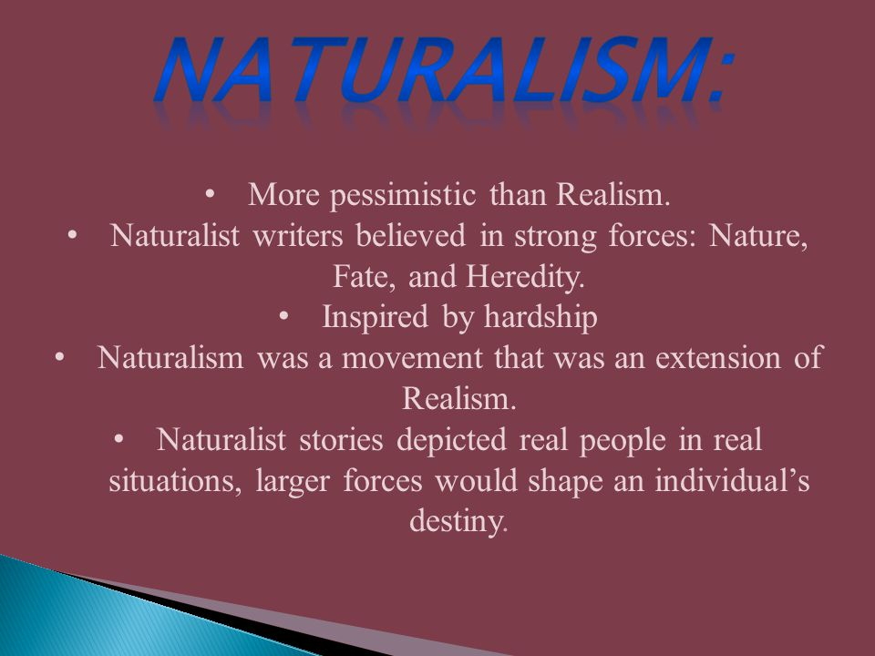 More pessimistic than Realism. Naturalist writers believed in strong forces: Nature, Fate, and Heredity. Inspired by hardship Naturalism was a movemen