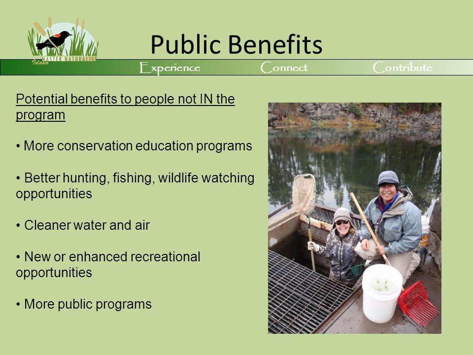 Public Benefits Potential benefits to people not IN the program More conservation education programs Better hunting, fishing, wildlife watching opportunities Cleaner water and air New or enhanced recreational opportunities More public programs Experience Connect Contribute