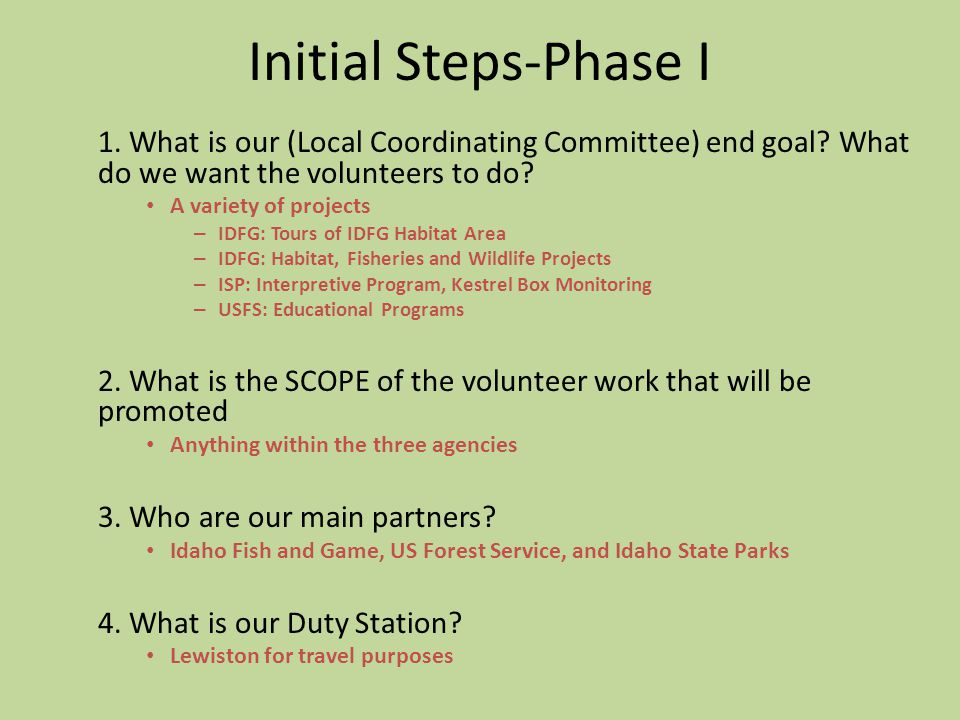 Initial Steps-Phase I 1.What is our (Local Coordinating Committee) end goal.