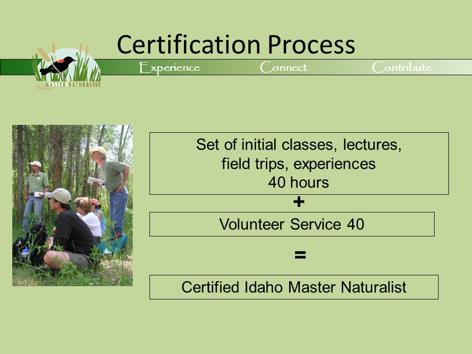 Certification Process Set of initial classes, lectures, field trips, experiences 40 hours Volunteer Service 40 + = Certified Idaho Master Naturalist Experience Connect Contribute