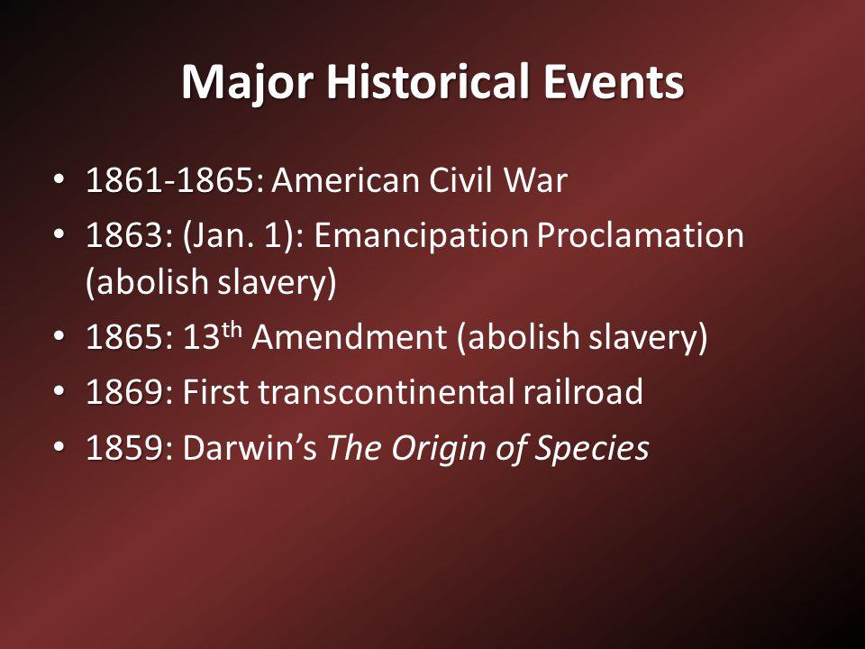 Major Historical Events 1861-1865 1861-1865: American Civil War 1863 1863: (Jan. 1): Emancipation Proclamation (abolish slavery) 1865 1865: 13 th Amen
