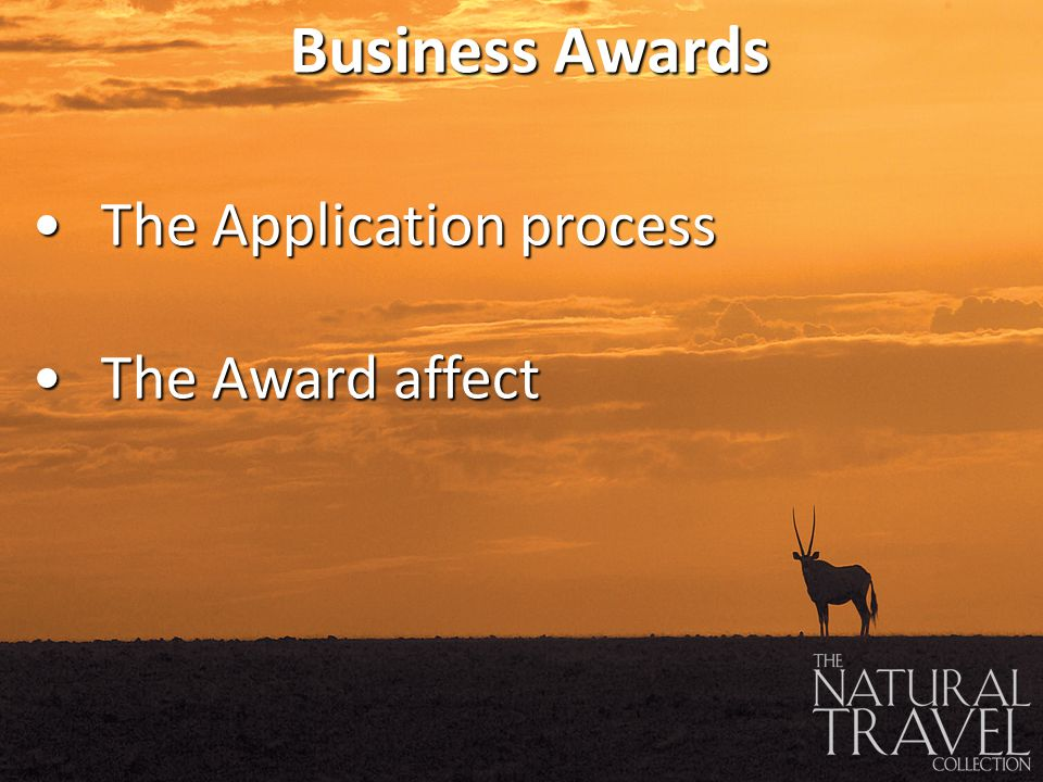 The Application processThe Application process The Award affectThe Award affect Business Awards