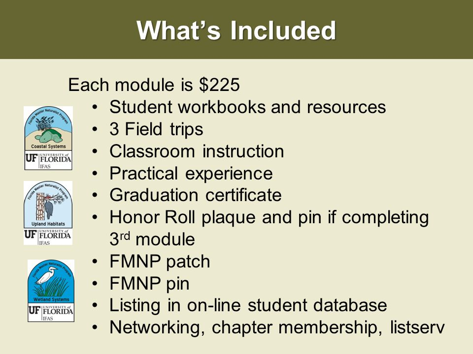 What's Included Each module is $225 Student workbooks and resources 3 Field trips Classroom instruction Practical experience Graduation certificate Honor Roll plaque and pin if completing 3 rd module FMNP patch FMNP pin Listing in on-line student database Networking, chapter membership, listserv