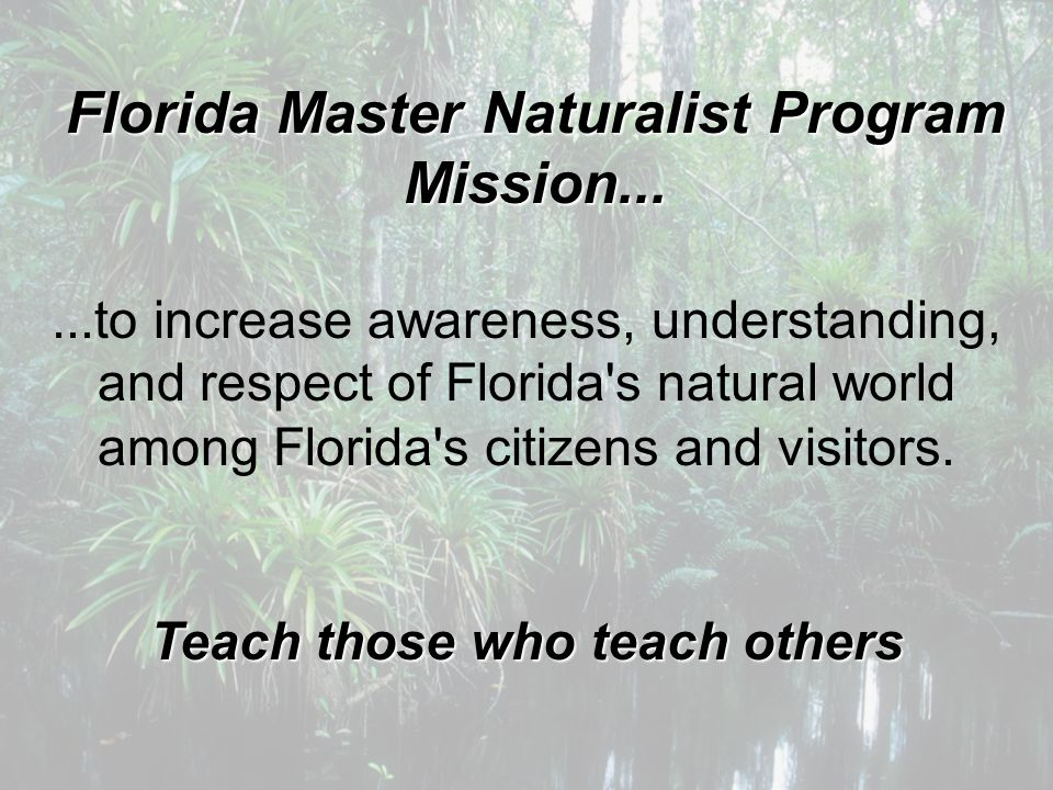Florida Master Naturalist Program Mission......to increase awareness, understanding, and respect of Florida's natural world among Florida's citizens a