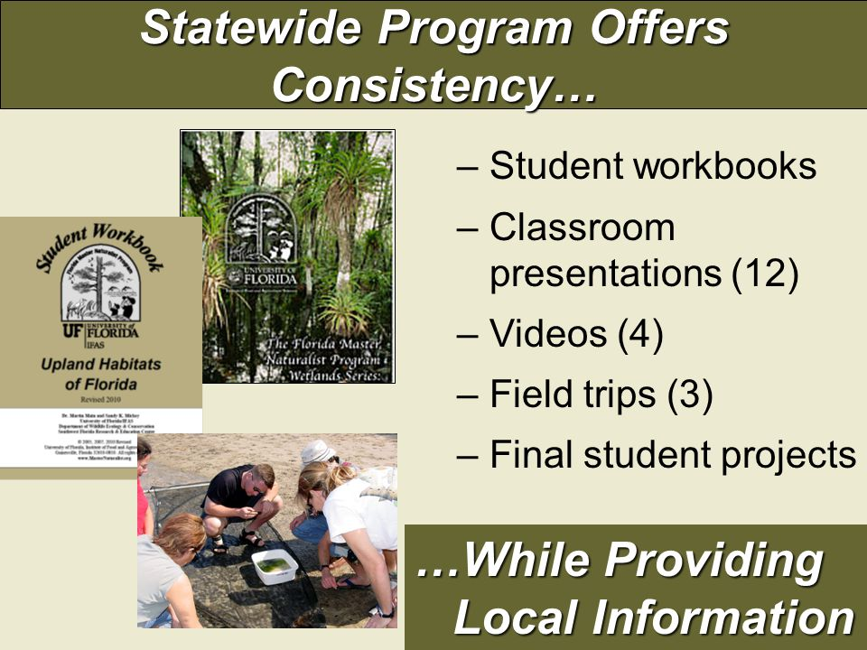 Statewide Program Offers Consistency… –Student workbooks –Classroom presentations (12) –Videos (4) –Field trips (3) –Final student projects …While Providing Local Information