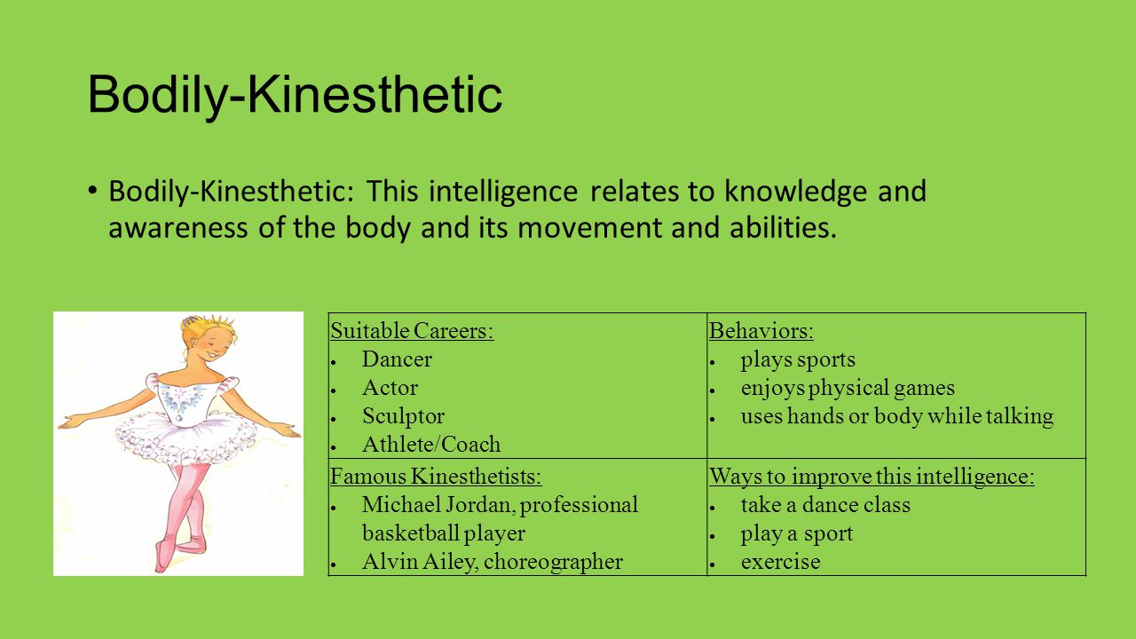 Bodily-Kinesthetic Bodily-Kinesthetic: This intelligence relates to knowledge and awareness of the body and its movement and abilities. Suitable Caree