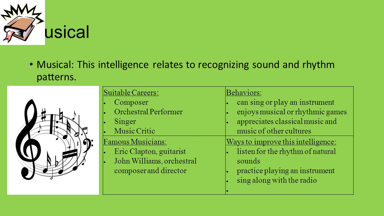 Musical Musical: This intelligence relates to recognizing sound and rhythm patterns. Suitable Careers:  Composer  Orchestral Performer  Singer  Mu