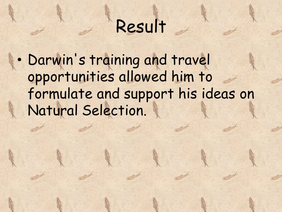 Result Darwin's training and travel opportunities allowed him to formulate and support his ideas on Natural Selection.