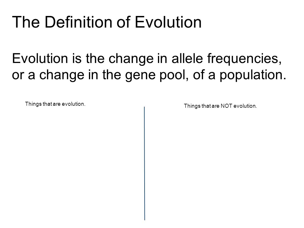 The Definition of Evolution Evolution is the change in allele frequencies, or a change in the gene pool, of a population.