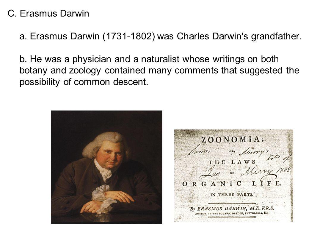 C. Erasmus Darwin a. Erasmus Darwin (1731-1802) was Charles Darwin s grandfather.