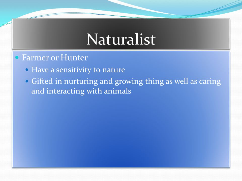 Naturalist Farmer or Hunter Have a sensitivity to nature Gifted in nurturing and growing thing as well as caring and interacting with animals Farmer or Hunter Have a sensitivity to nature Gifted in nurturing and growing thing as well as caring and interacting with animals