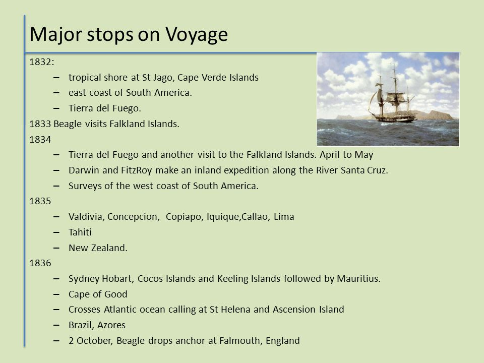 Major stops on Voyage 1832: – tropical shore at St Jago, Cape Verde Islands – east coast of South America.