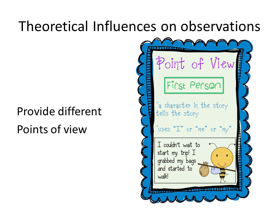 Theoretical Influences on observations Provide different Points of view