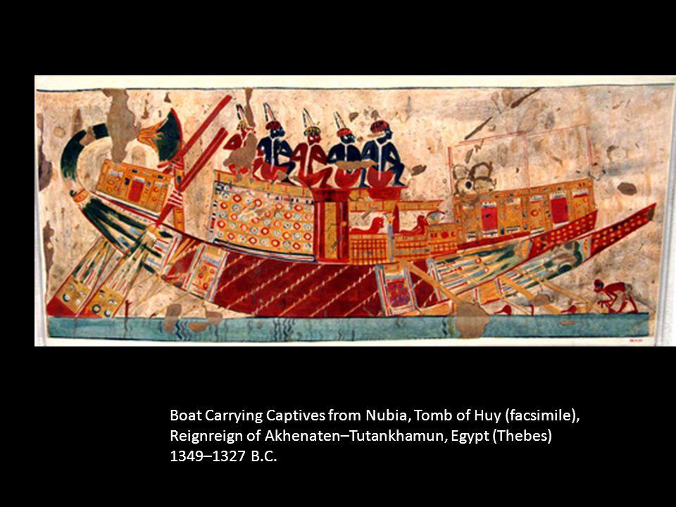 Boat Carrying Captives from Nubia, Tomb of Huy (facsimile), Reignreign of Akhenaten–Tutankhamun, Egypt (Thebes) 1349–1327 B.C.