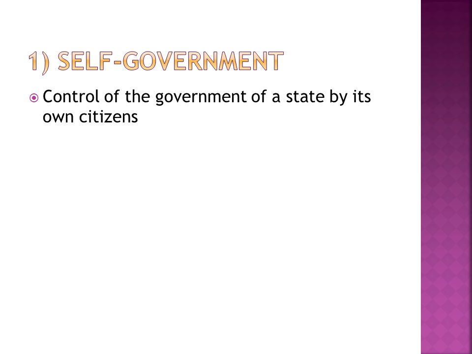  Control of the government of a state by its own citizens