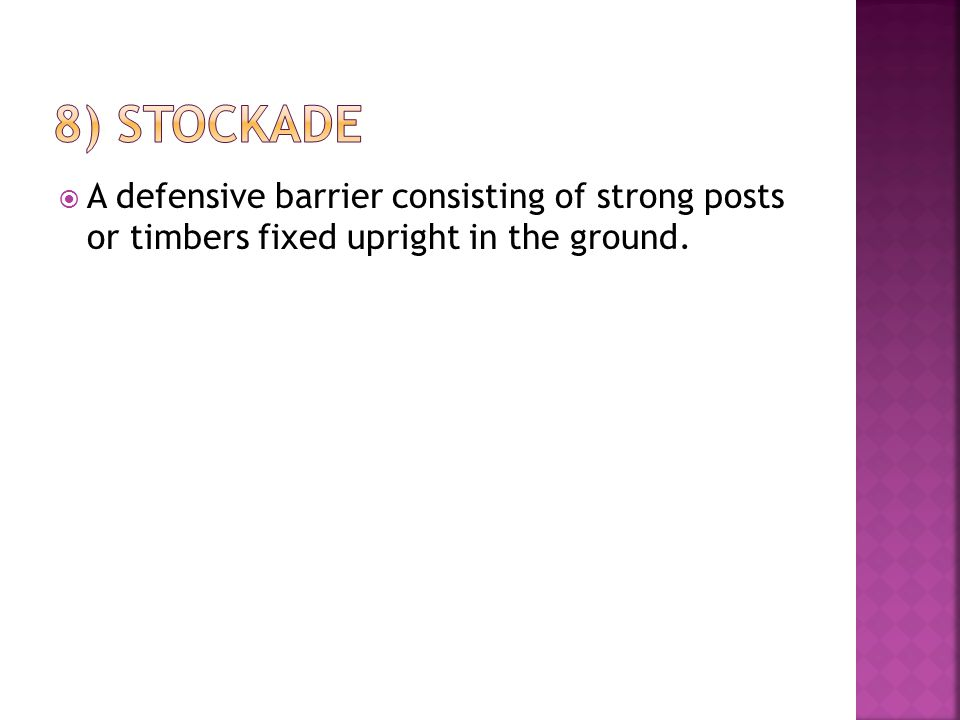  A defensive barrier consisting of strong posts or timbers fixed upright in the ground.