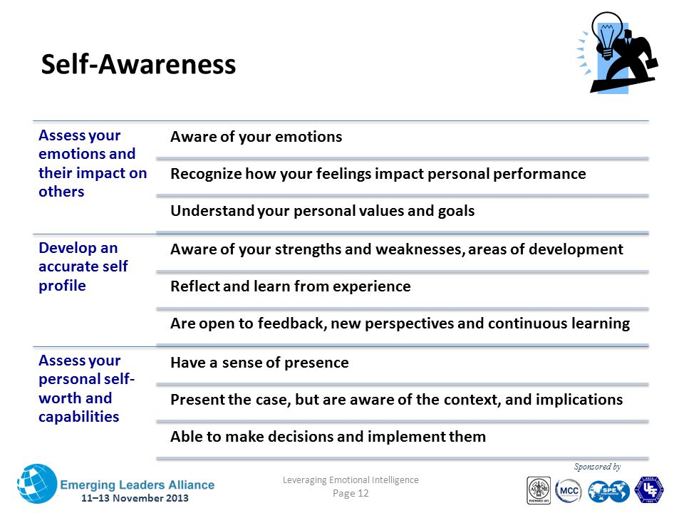 11–13 November 2013 Leveraging Emotional Intelligence Page 12 Sponsored by Self-Awareness Assess your emotions and their impact on others Aware of your emotions Recognize how your feelings impact personal performance Understand your personal values and goals Develop an accurate self profile Aware of your strengths and weaknesses, areas of development Reflect and learn from experience Are open to feedback, new perspectives and continuous learning Assess your personal self- worth and capabilities Have a sense of presence Present the case, but are aware of the context, and implications Able to make decisions and implement them