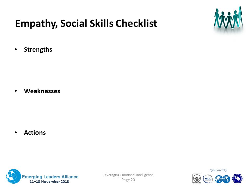 11–13 November 2013 Leveraging Emotional Intelligence Page 20 Sponsored by Empathy, Social Skills Checklist Strengths Weaknesses Actions