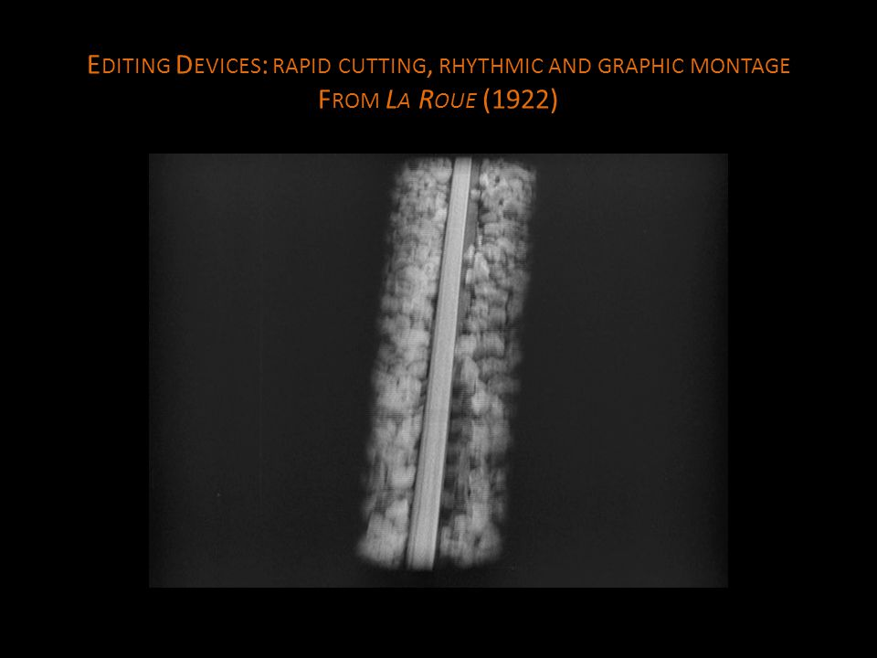 E DITING D EVICES : RAPID CUTTING, RHYTHMIC AND GRAPHIC MONTAGE F ROM L A R OUE (1922)