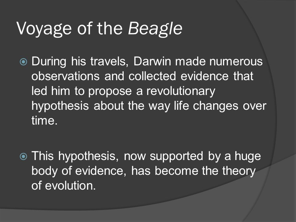 Voyage of the Beagle  During his travels, Darwin made numerous observations and collected evidence that led him to propose a revolutionary hypothesis