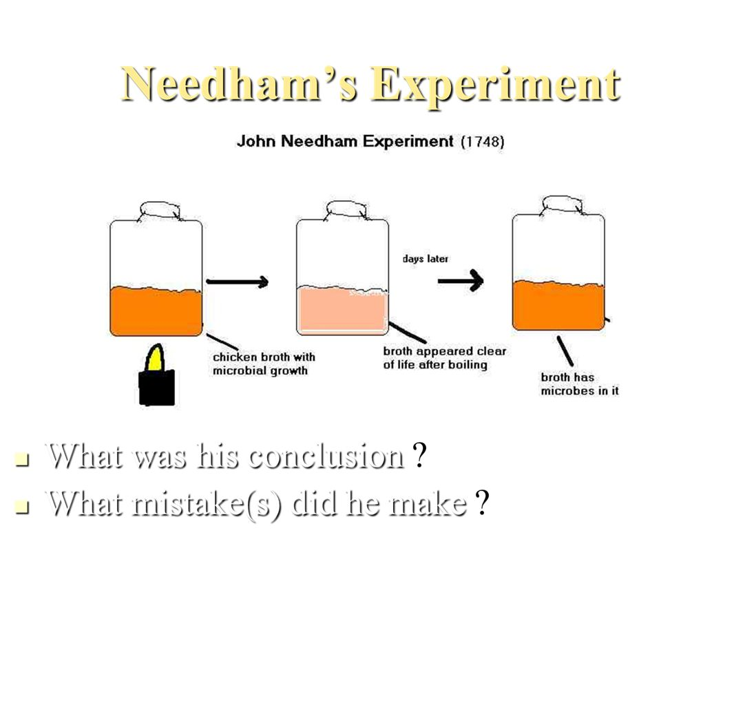 ·Disagreed with Needham claiming that Needham didn t seal his jars well enough.