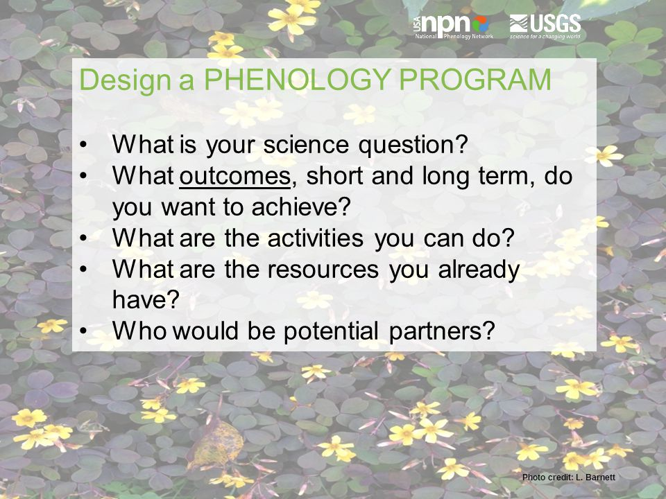 Photo credit: L. Barnett Design a PHENOLOGY PROGRAM What is your science question.