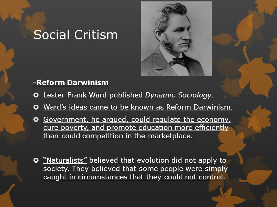 Social Critism -Reform Darwinism  Lester Frank Ward published Dynamic Sociology.  Ward's ideas came to be known as Reform Darwinism.  Government, h