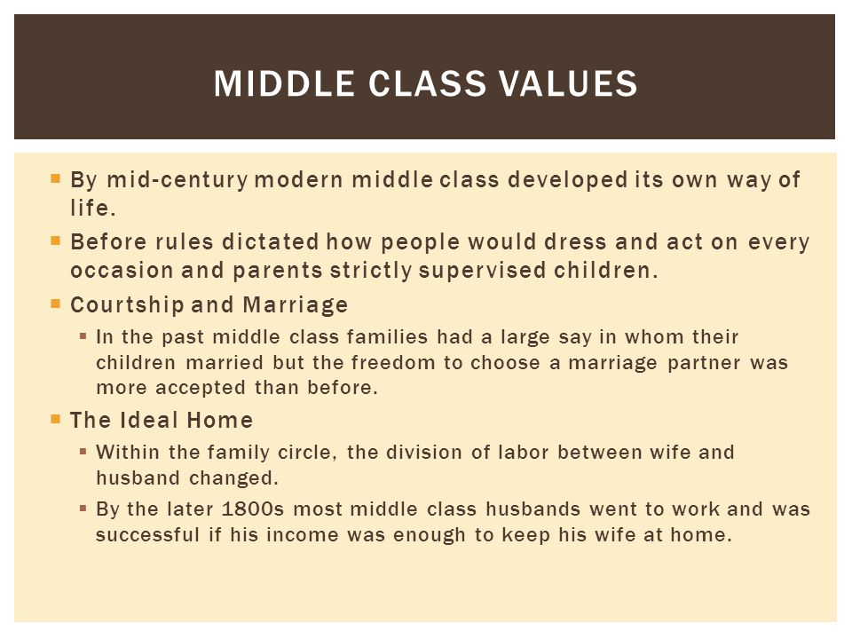  By mid-century modern middle class developed its own way of life.  Before rules dictated how people would dress and act on every occasion and paren
