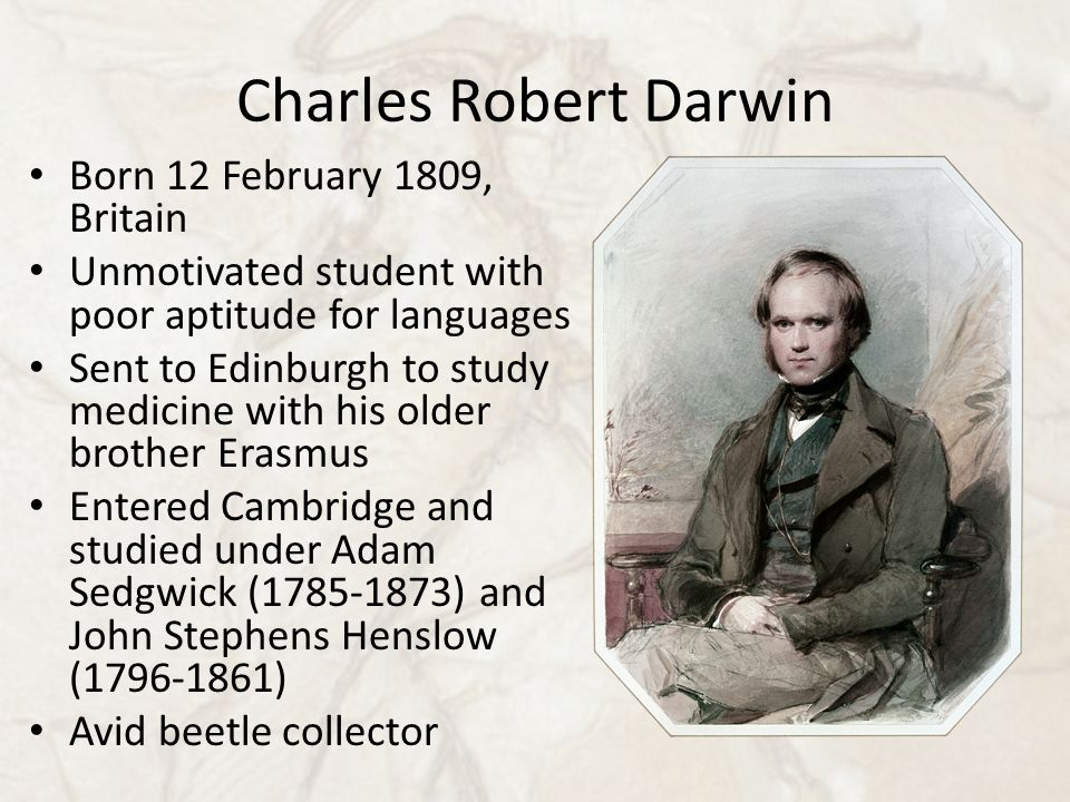 Charles Robert Darwin Born 12 February 1809, Britain Unmotivated student with poor aptitude for languages Sent to Edinburgh to study medicine with his older brother Erasmus Entered Cambridge and studied under Adam Sedgwick (1785-1873) and John Stephens Henslow (1796-1861) Avid beetle collector
