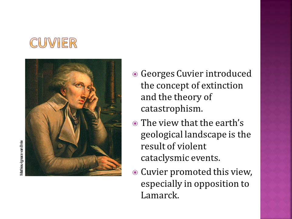  Georges Cuvier introduced the concept of extinction and the theory of catastrophism.  The view that the earth's geological landscape is the result