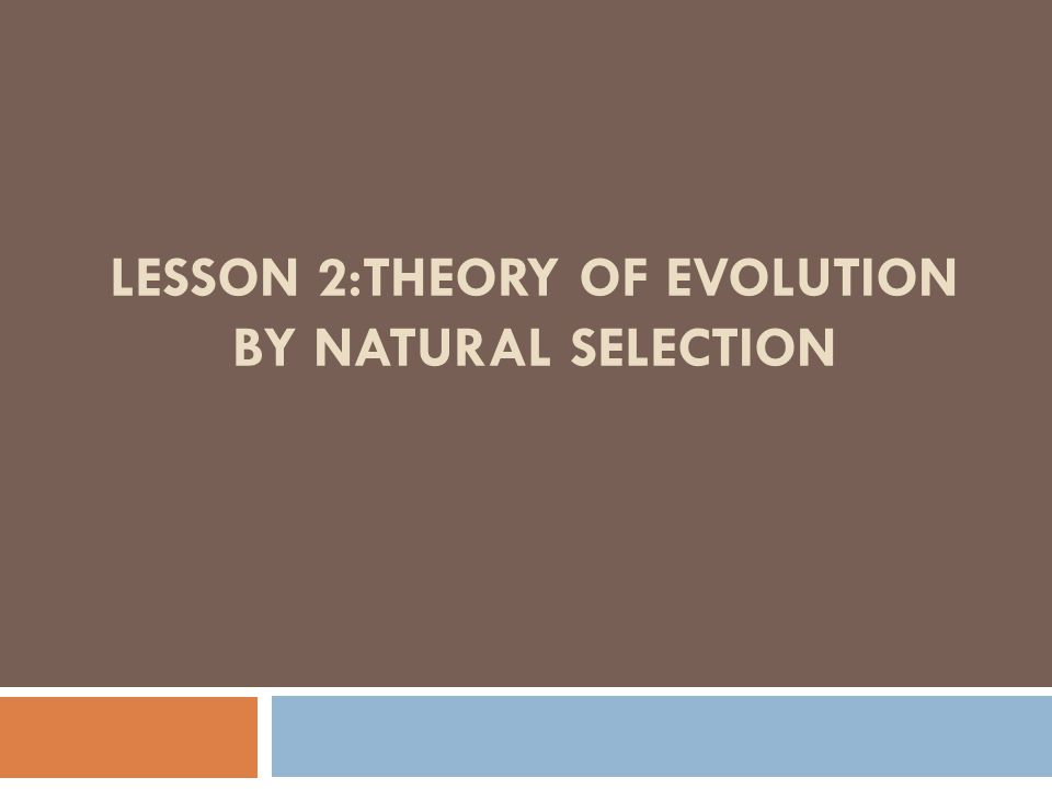 LESSON 2:THEORY OF EVOLUTION BY NATURAL SELECTION