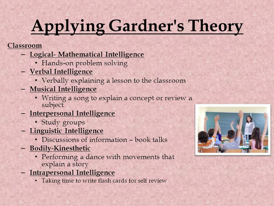 Applying Gardner's Theory Classroom – Logical- Mathematical Intelligence Hands-on problem solving – Verbal Intelligence Verbally explaining a lesson t
