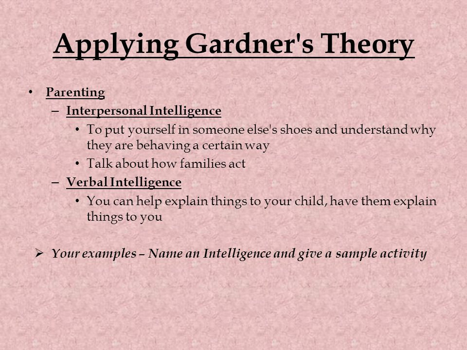 Parenting – Interpersonal Intelligence To put yourself in someone else s shoes and understand why they are behaving a certain way Talk about how families act – Verbal Intelligence You can help explain things to your child, have them explain things to you  Your examples – Name an Intelligence and give a sample activity Applying Gardner s Theory