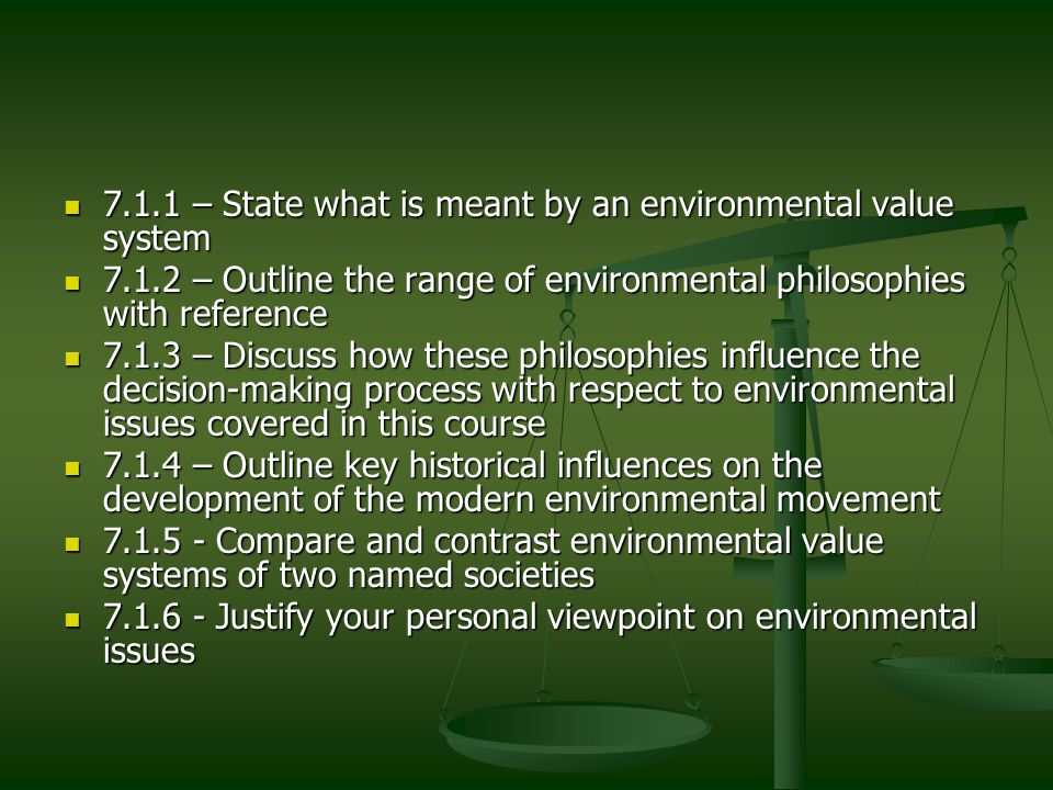 The influence of these philosophies We will look back to this as we move forward in the course We will look back to this as we move forward in the course Some examples look to our presidents Some examples look to our presidents Carter  progressive environmental policy to get us off of oil Carter  progressive environmental policy to get us off of oil Reagan  crushes solar energy industry Reagan  crushes solar energy industry Bush 1  reauthorized clean air act but Gulf war was one of the worst environmental disasters in history Bush 1  reauthorized clean air act but Gulf war was one of the worst environmental disasters in history Clinton  good – increased preserve area, pollution standards; bad – NAFTA, subsidizing SUV era of US automakers Clinton  good – increased preserve area, pollution standards; bad – NAFTA, subsidizing SUV era of US automakers Bush 2  Works to weaken environmental regulations on businesses – loosening scrubber requ.