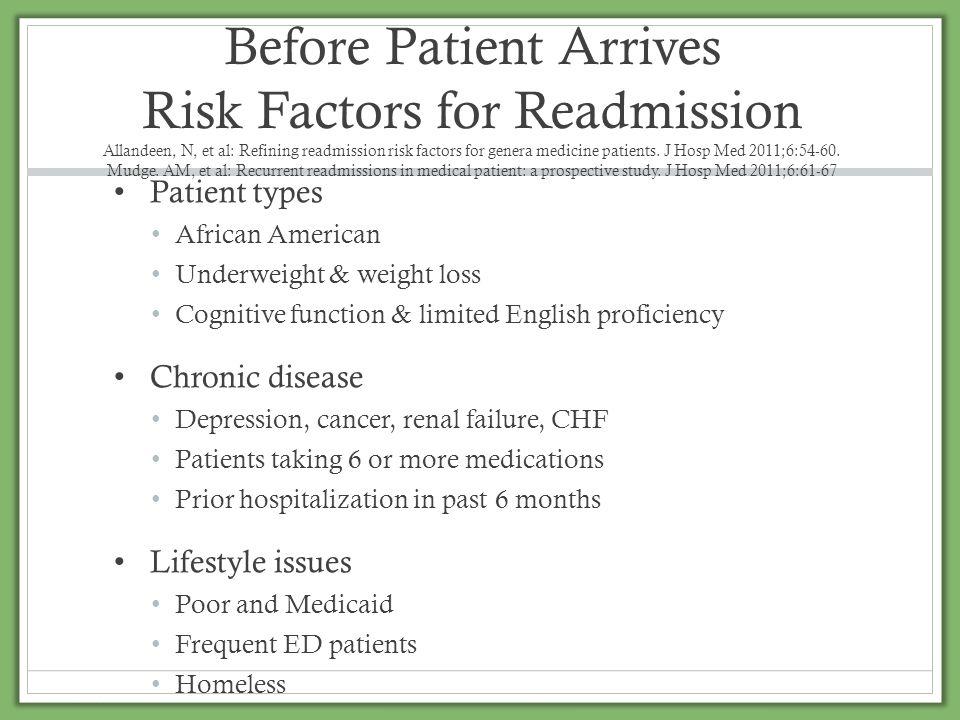 Before Patient Arrives Risk Factors for Readmission Allandeen, N, et al: Refining readmission risk factors for genera medicine patients. J Hosp Med 20