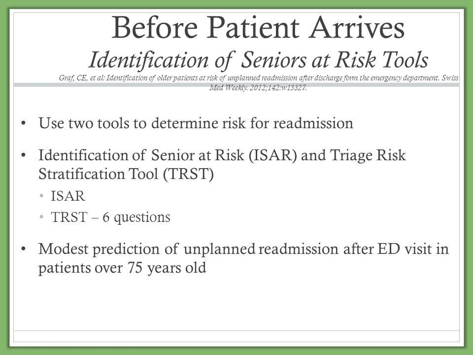 Before Patient Arrives Identification of Seniors at Risk Tools Graf, CE, et al: Identification of older patients at risk of unplanned readmission afte