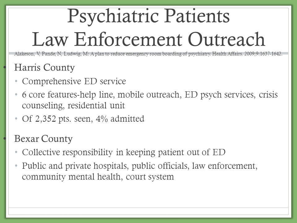 Inappropriate Admissions Legal and liability of sending patients home Secondary utilizes such as police, group homes, nursing homes and families Send to ED to resolve issues Lack of appropriate assessment Difficulty in contacting PCP Need for collateral information Problem with obtaining old medical records Lack of outpatient resources Housing Medication Care givers