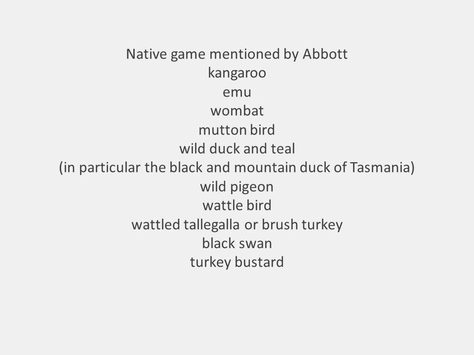 Native game mentioned by Abbott kangaroo emu wombat mutton bird wild duck and teal (in particular the black and mountain duck of Tasmania) wild pigeon wattle bird wattled tallegalla or brush turkey black swan turkey bustard