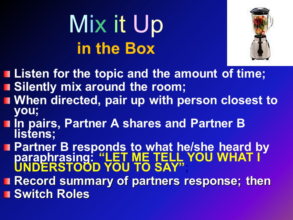 Mix it Up in the Box Listen for the topic and the amount of time; Silently mix around the room; When directed, pair up with person closest to you; In pairs, Partner A shares and Partner B listens; Partner B responds to what he/she heard by paraphrasing: LET ME TELL YOU WHAT I UNDERSTOOD YOU TO SAY ; Record summary of partners response; then Switch Roles