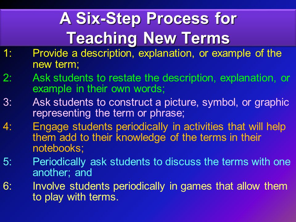 A Six-Step Process for Teaching New Terms 1: Provide a description, explanation, or example of the new term; 2: Ask students to restate the description, explanation, or example in their own words; 3: Ask students to construct a picture, symbol, or graphic representing the term or phrase; 4: Engage students periodically in activities that will help them add to their knowledge of the terms in their notebooks; 5: Periodically ask students to discuss the terms with one another; and 6: Involve students periodically in games that allow them to play with terms.