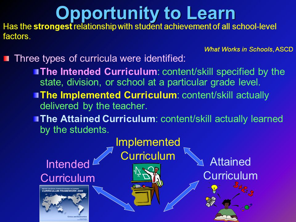 Opportunity to Learn rric Three types of curricula were identified: The Intended Curriculum: content/skill specified by the state, division, or school at a particular grade level.