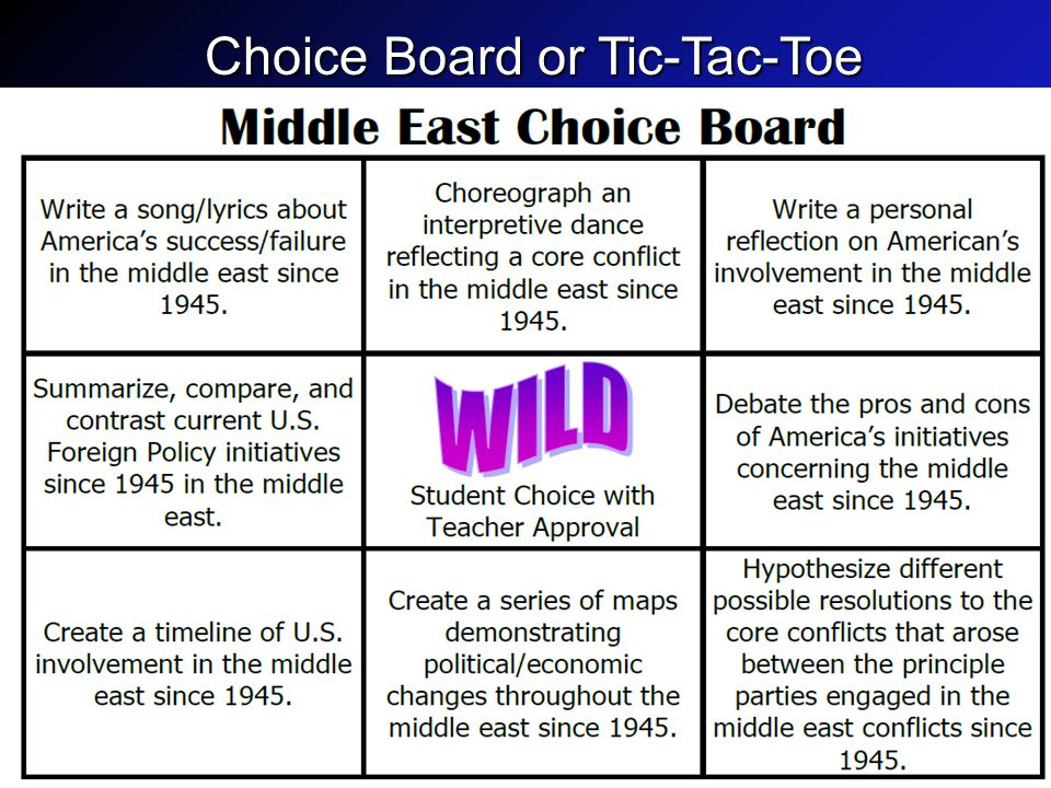Choice Board or Tic-Tac-Toe