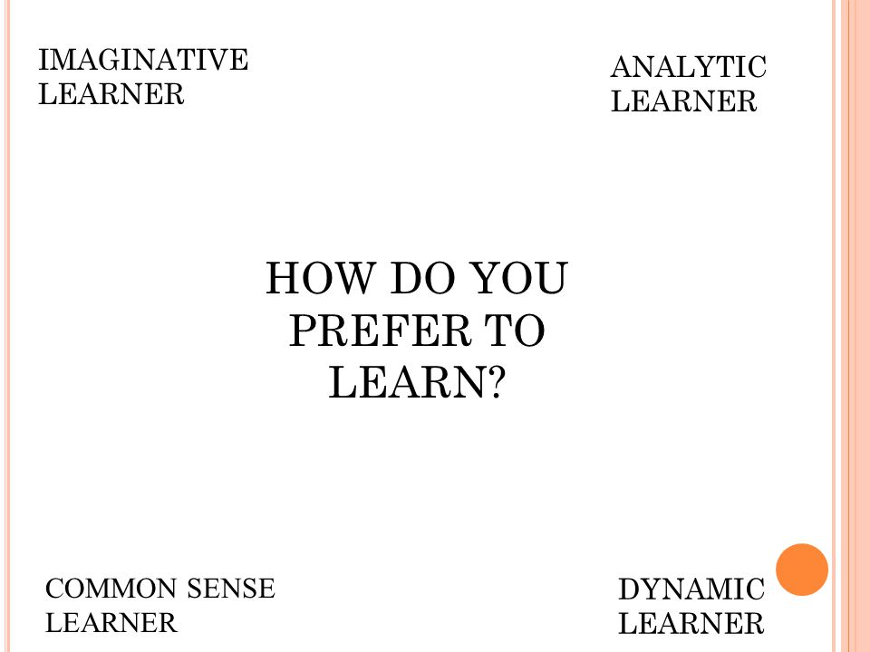 IMAGINATIVE LEARNER ANALYTIC LEARNER COMMON SENSE LEARNER HOW DO YOU PREFER TO LEARN.
