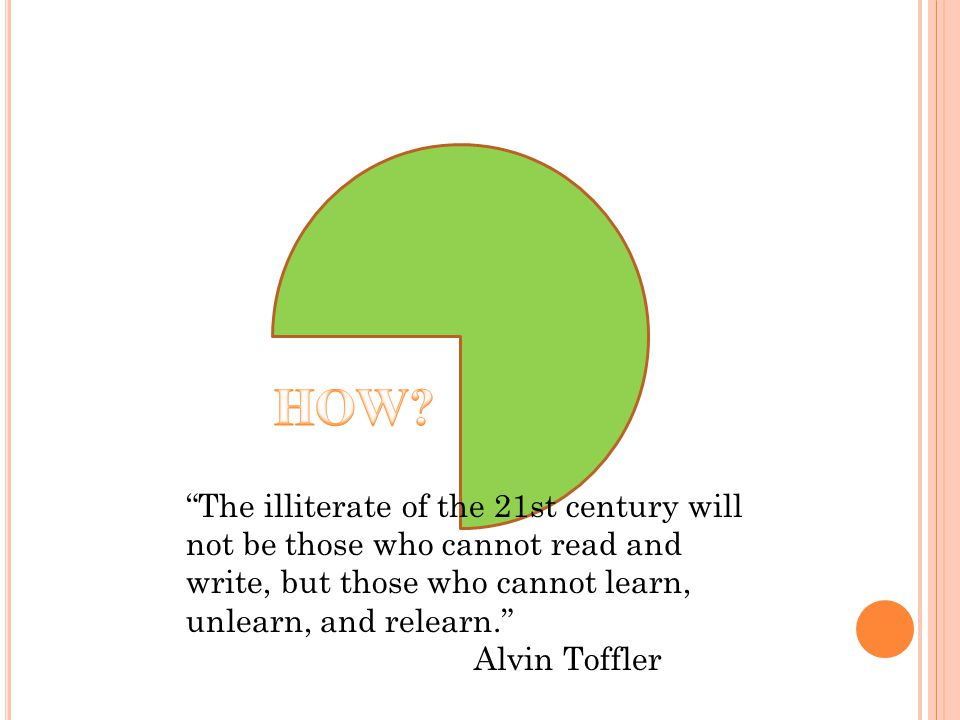 The illiterate of the 21st century will not be those who cannot read and write, but those who cannot learn, unlearn, and relearn. Alvin Toffler
