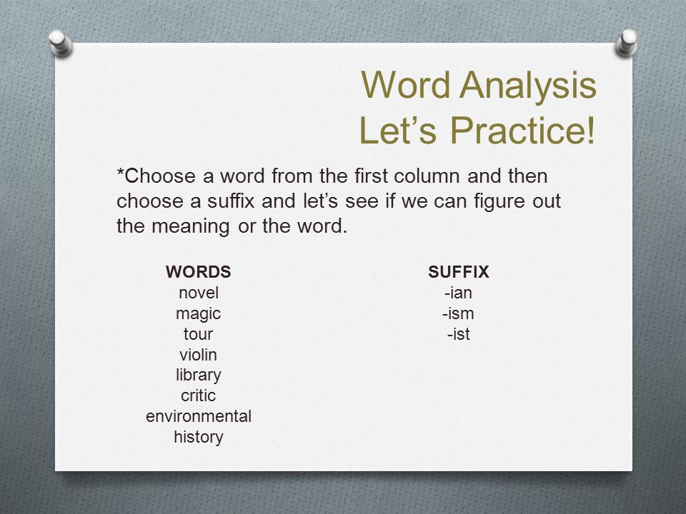 Word Analysis Let's Practice! *Choose a word from the first column and then choose a suffix and let's see if we can figure out the meaning or the word