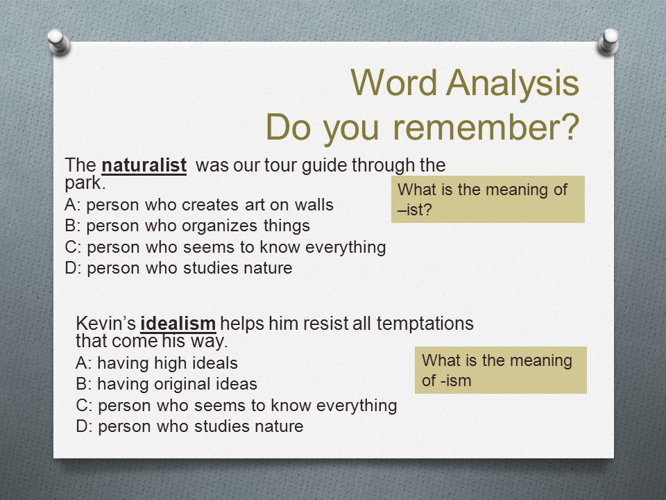 Word Analysis Do you remember? The naturalist was our tour guide through the park. A: person who creates art on walls B: person who organizes things C