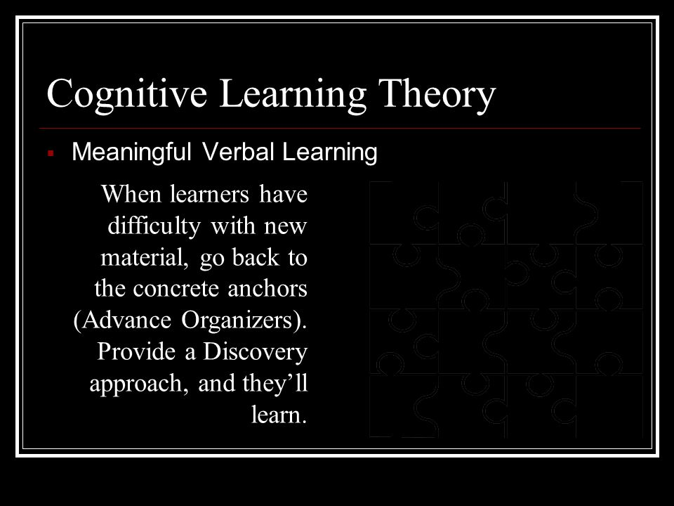 Cognitive Learning Theory  Meaningful Verbal Learning Advance Organizers: New material is presented in a systematic way, and is connected to existing