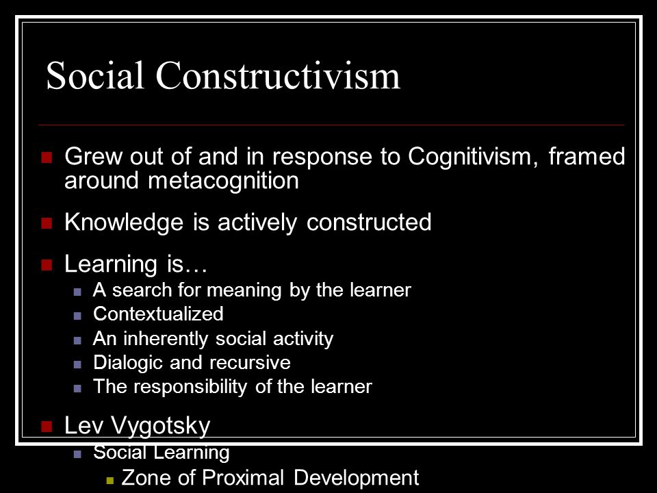 Learning Theory  Social Constructivism