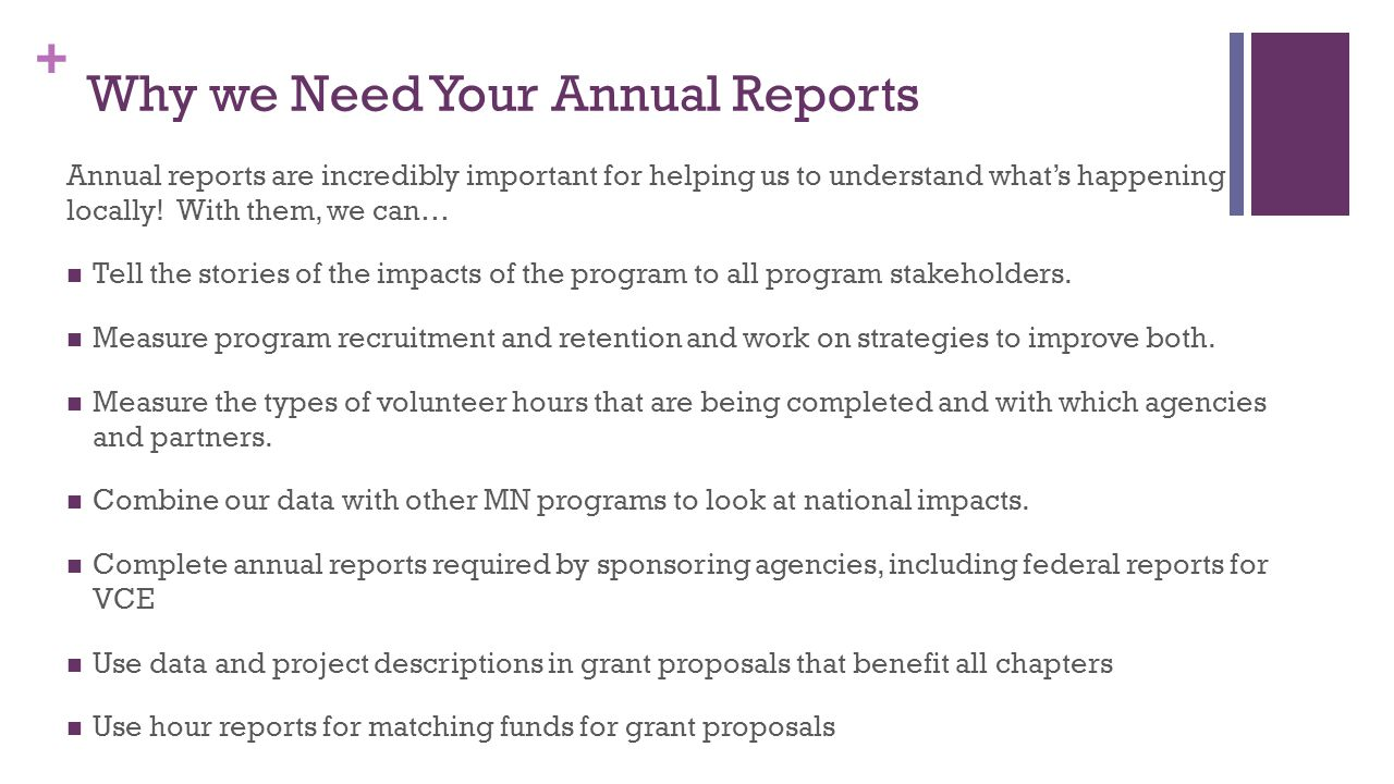 + Why we Need Your Annual Reports Annual reports are incredibly important for helping us to understand what's happening locally.